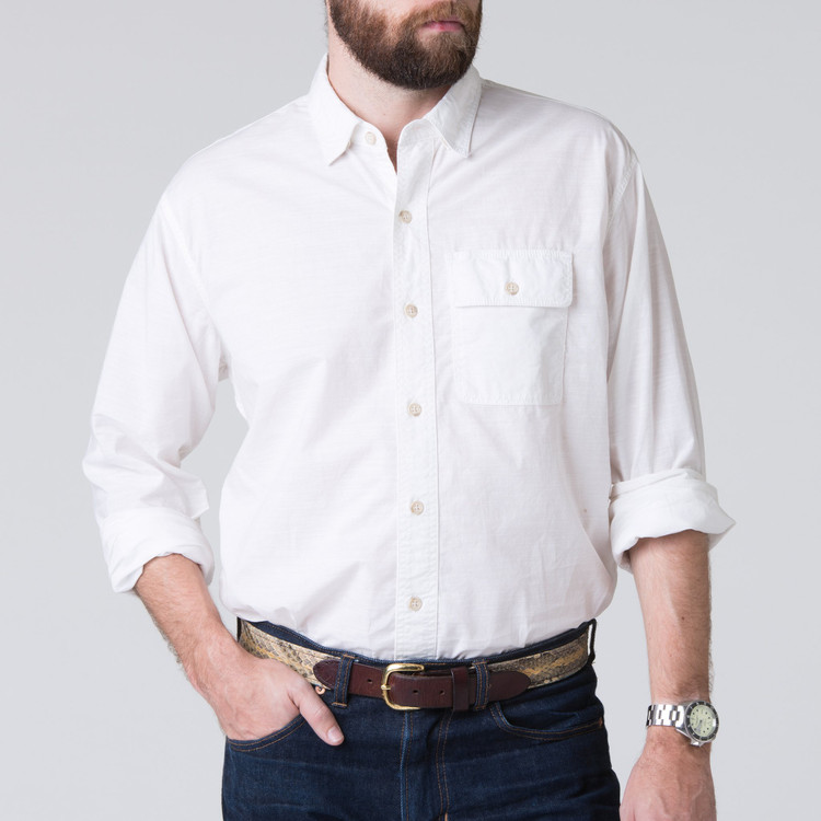 Quinn Work Shirt in White by H. Goose
