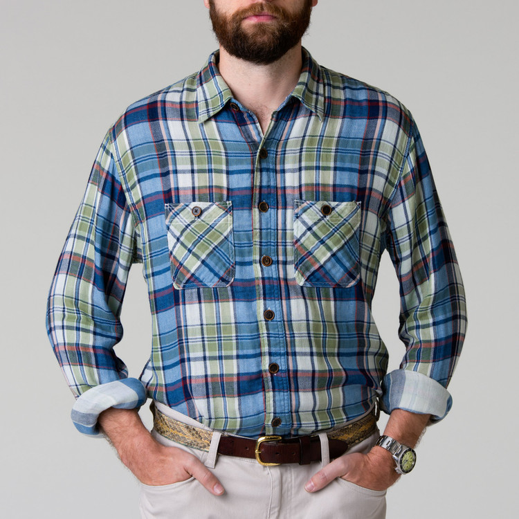 Pellett Work Shirt in Olive and Indigo Plaid by H. Goose