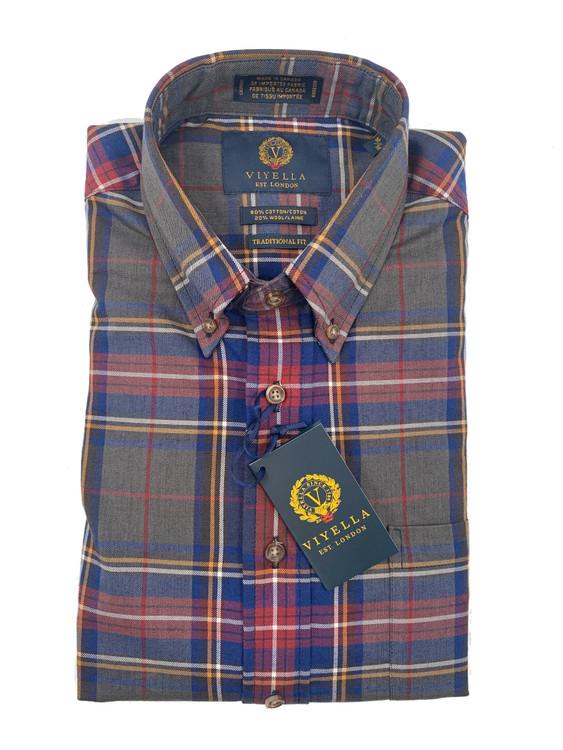 Vino, Grey and Navy Plaid Button-Down Shirt by Viyella