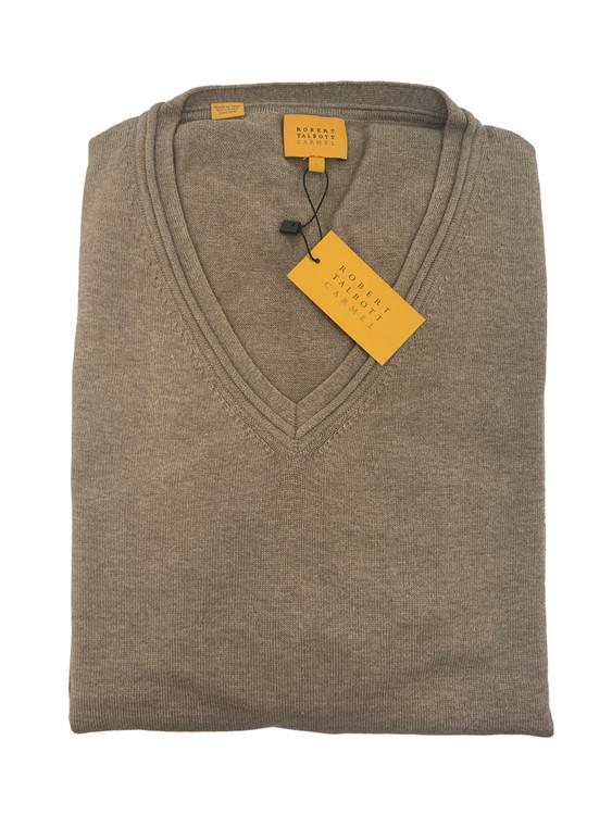 'Toyon' Jersey V-Neck Sweater in Suede by Robert Talbott