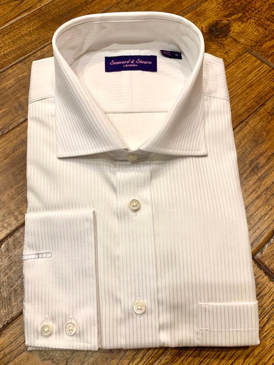 White Stripe Dress Shirt (Size 18 - 36) by Seaward & Stearn
