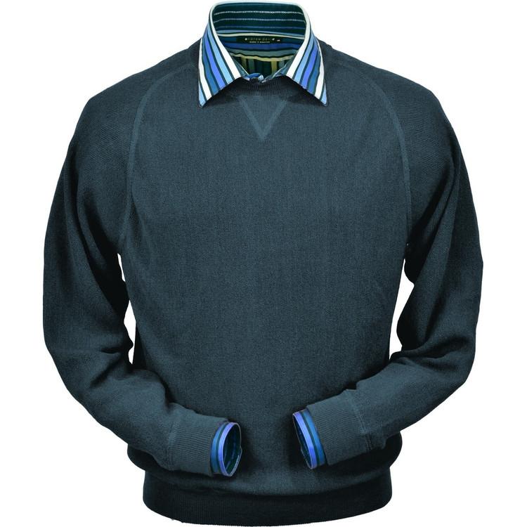 Baby Alpaca Stitch Link Sweatshirt Style Sweater in Steel Blue by Peru Unlimited