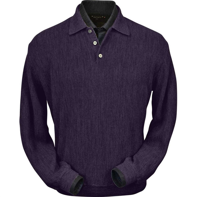Baby Alpaca Link Stitch Polo Sweater in Plum Heather by Peru Unlimited