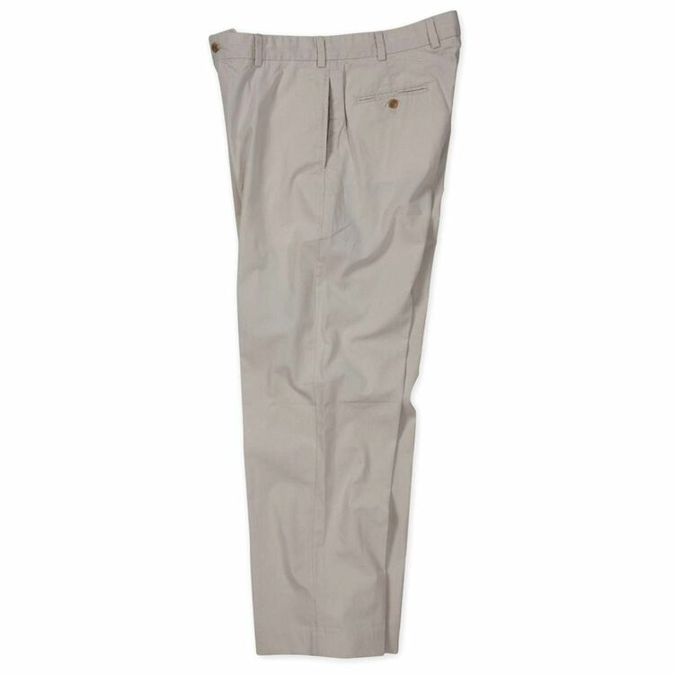 Lightweight Cotton Poplins -(Size 33x30) Model M1 Relaxed Fit Plain Front in Stone by Bills Khakis