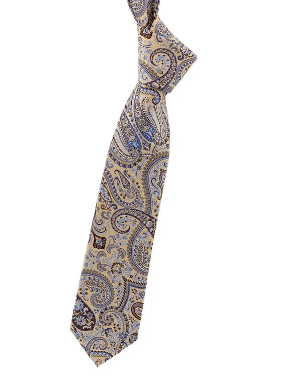 Khaki, Brown and Blue Paisley Woven Silk Tie by Robert Jensen