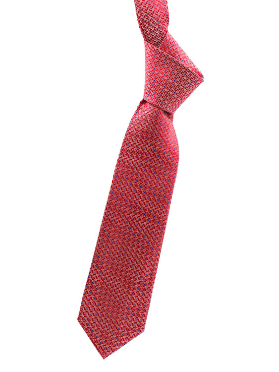 Red and Blue Geometric Woven Silk Tie by Robert Jensen