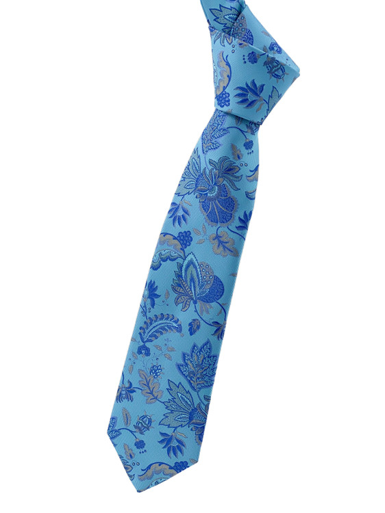 Blue and Grey Paisley Woven Silk Tie by Robert Jensen