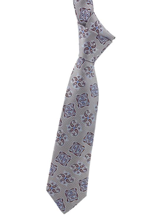 Grey, Brown and Blue Medallion Woven Silk Tie by Robert Jensen