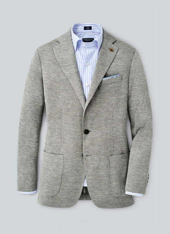 Villa Plaid Jersey Soft Jacket in Argento by Peter Millar