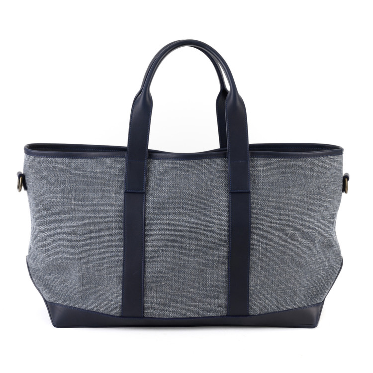 Alex Travel Bag in Kireina Navy & Belgian Linen by Moore & Giles