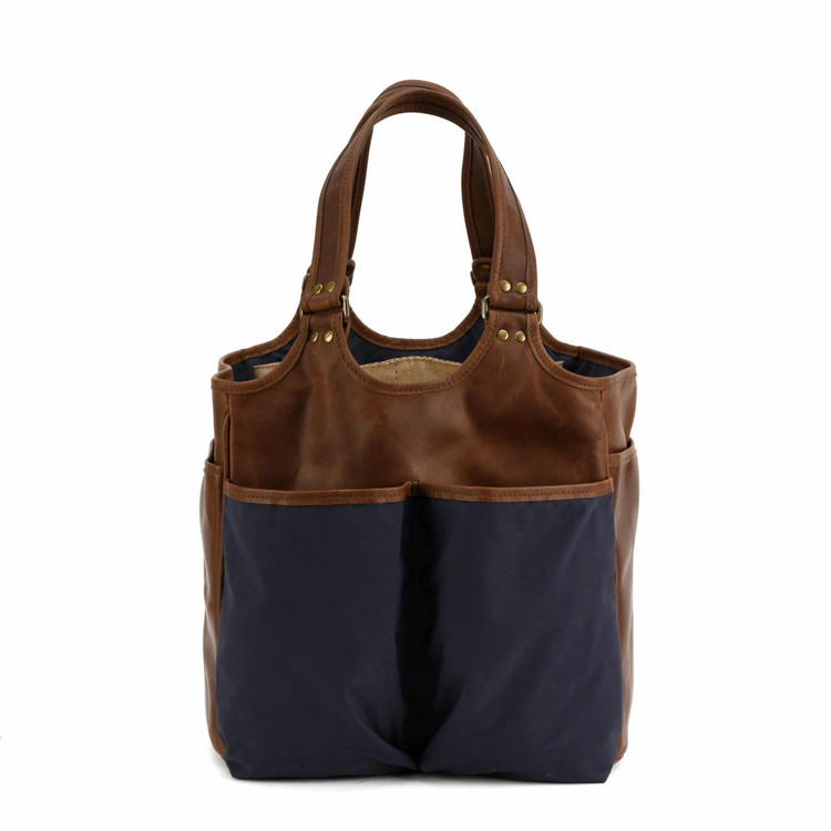 Belle Picnic Tote in Ventile Navy & Baldwin Oak by Moore & Giles