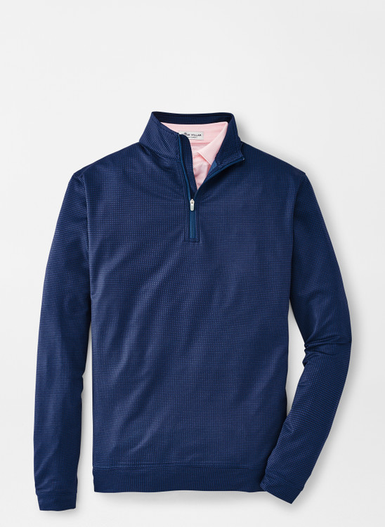Perth Waffle Performance Quarter-Zip in City Blue by Peter Millar