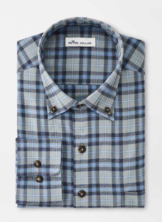 Emmett Performance Flannel Sport Shirt in Gale Grey by Peter Millar