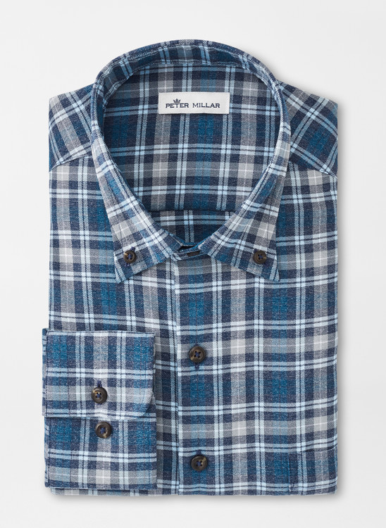 Jackson Performance Flannel Sport Shirt in Navy by Peter Millar