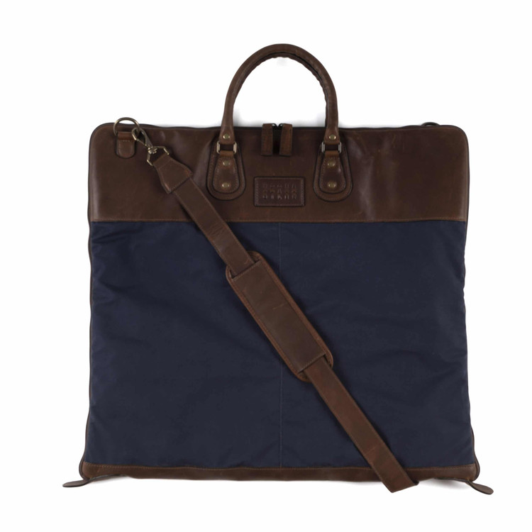 Gravely Garment Bag in Ventile Navy & Baldwin Oak by Moore & Giles