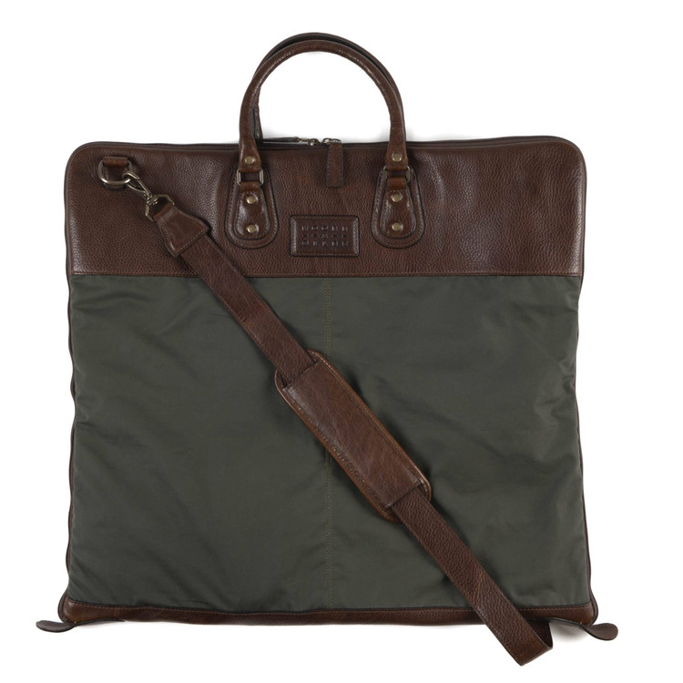 Gravely Garment Bag in Ventile Olive & Titan Milled Brown by Moore & Giles