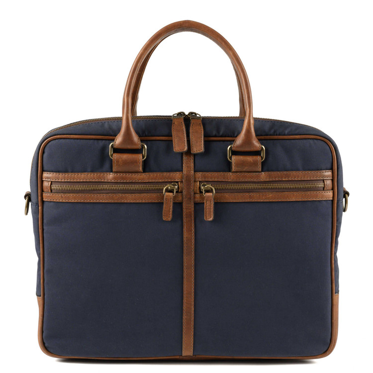 Lewis Flyweight Briefcase in Ventile Navy & Baldwin Oak by Moore & Giles