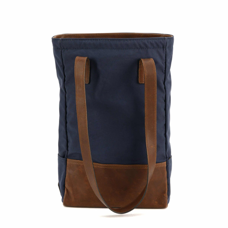 Petty Bottle Tote in Ventile Navy & Baldwin Oak by Moore & Giles