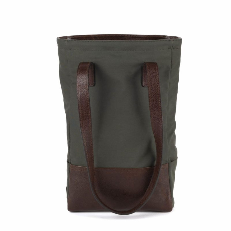 Petty Bottle Tote in Ventile Olive & Titan Milled Brown by Moore & Giles
