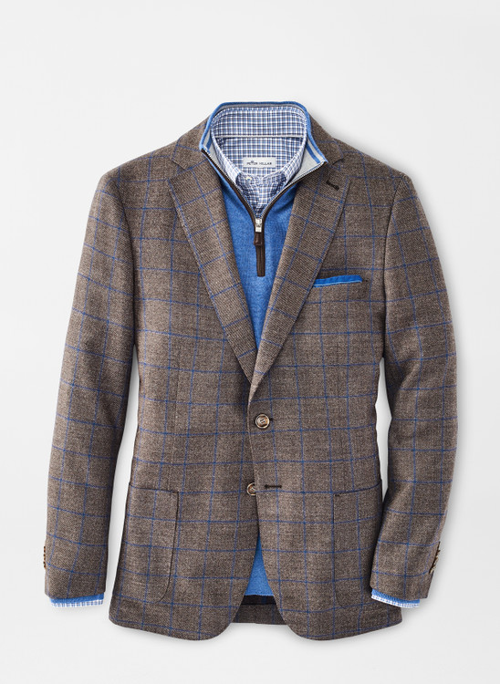 Classic Windowpane Soft Jacket in Espresso by Peter Millar