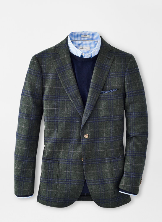 Wintertime Windowpane Soft Jacket in Jurassic Green by Peter Millar