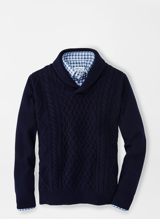 Cable Shawl Sweater in Navy by Peter Millar