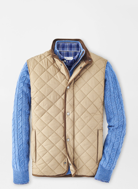Essex Quilted Travel Vest in Taupe by Peter Millar