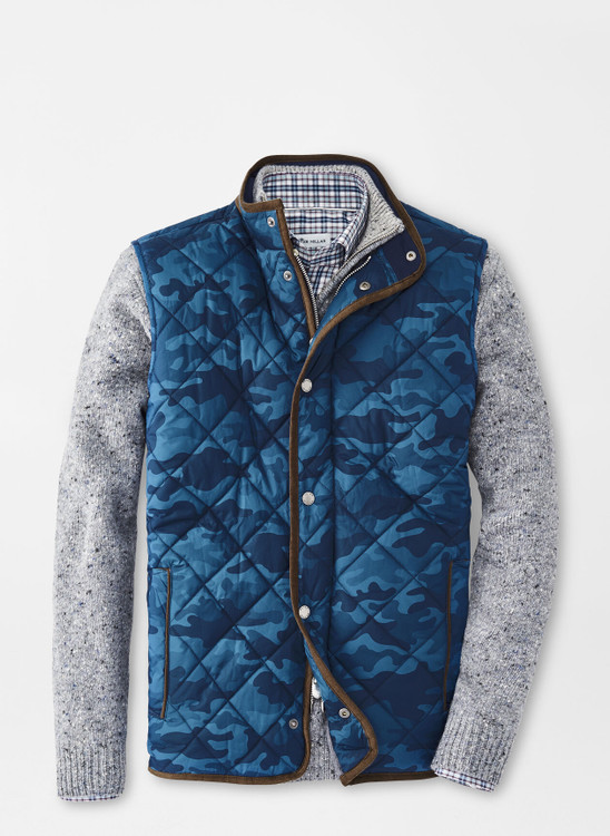 Essex Quilted Travel Vest in Navy Camo by Peter Millar