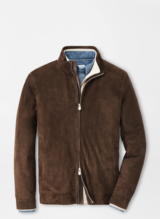 Suede Bomber Jacket in Chocolate by Peter Millar