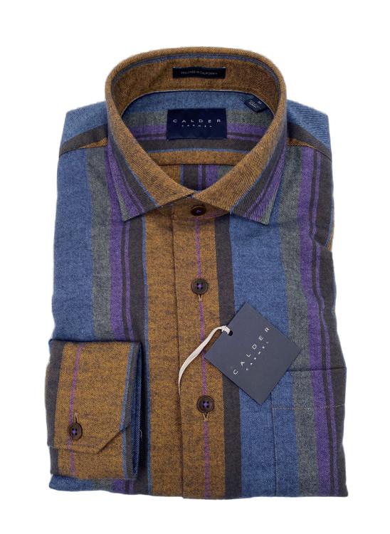 Luxury Multi-Color Melange Stripe Sport Shirt in Denim by Calder Carmel