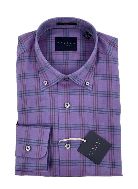 Color and Color Tonal Melange Twill Check Sport Shirt in Lavender by Calder Carmel