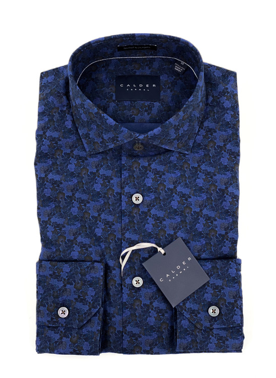 Luxury Over-Dyed Italian Poplin Print Sport Shirt in Denim by Calder Carmel