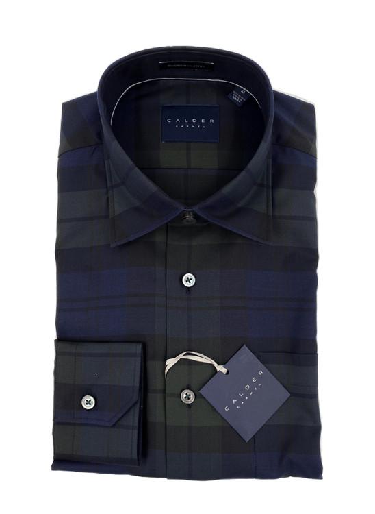 Luxury 120/2 Ply Melange Satin Twill Plaid Sport Shirt in Forest by Calder Carmel