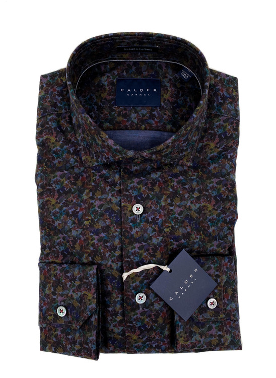 Luxury Yarn-Dyed Melange Twill Print Sport Shirt in Indigo by Calder Carmel