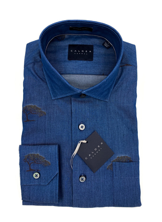 Luxury Fil-Coupe Indigo Twill Sport Shirt in Indigo by Calder Carmel