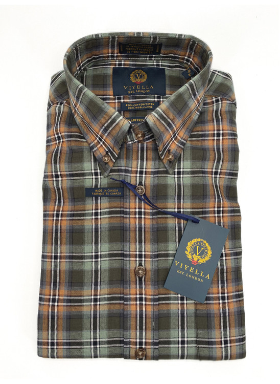 Green and Copper Plaid Button-Down Sport Shirt by Viyella