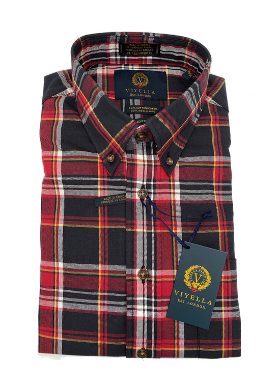 Crimson and Black Plaid Button-Down Sport Shirt by Viyella