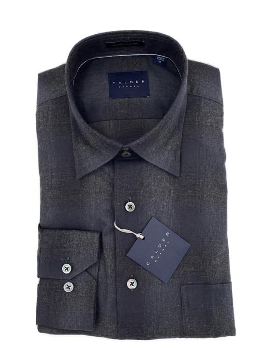 Luxury Flannel Melange Twill Sport Shirt in Charcoal by Calder Carmel