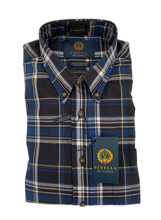 Blue and Yellow Plaid Button-Down Sport Shirt by Viyella