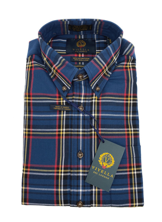 Blue, Yellow and Red Plaid Button-Down Sport Shirt by Viyella