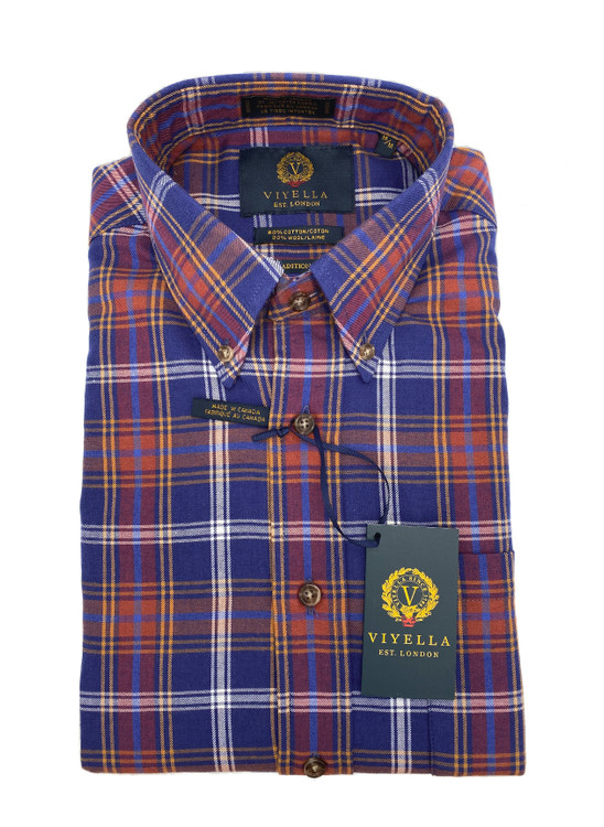 Navy Mix Plaid Button-Down Sport Shirt by Viyella