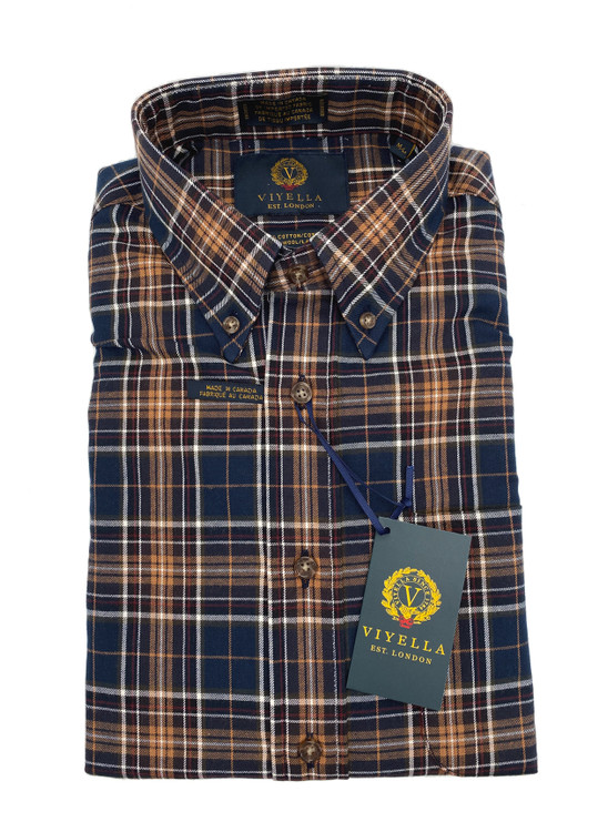 Navy and Gold Plaid Button-Down Sport Shirt by Viyella