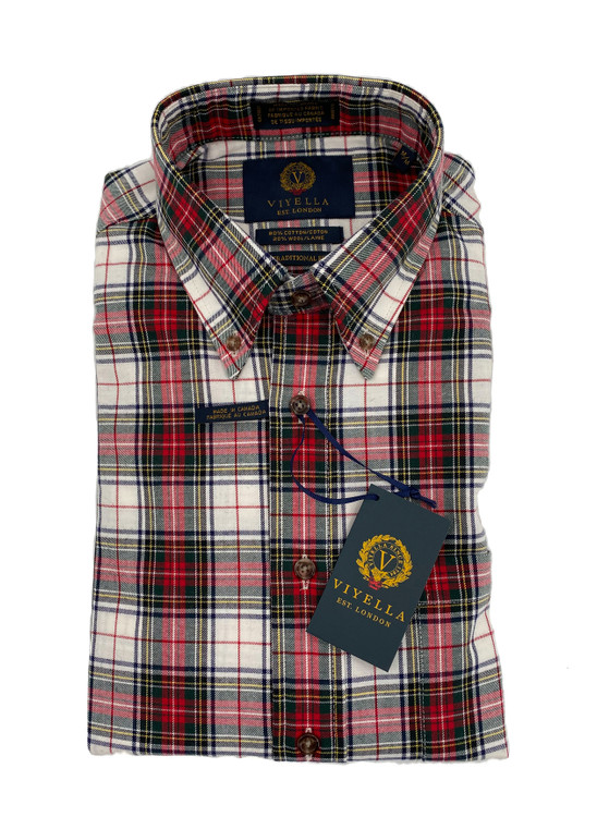 Red and Green Plaid Button-Down Sport Shirt by Viyella