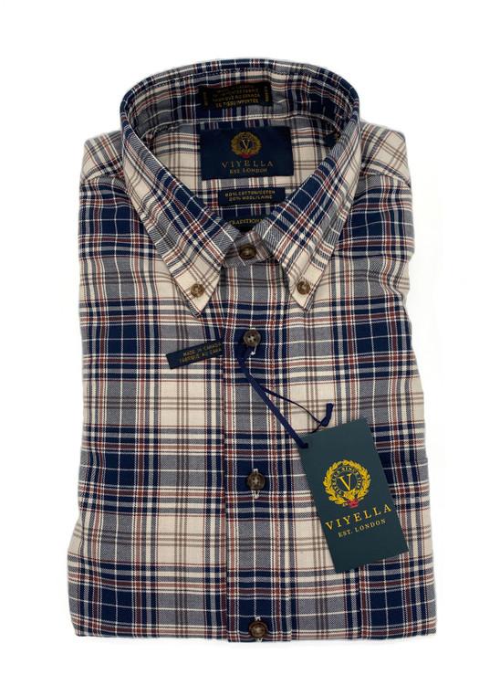String and Navy Plaid Button-Down Sport Shirt by Viyella