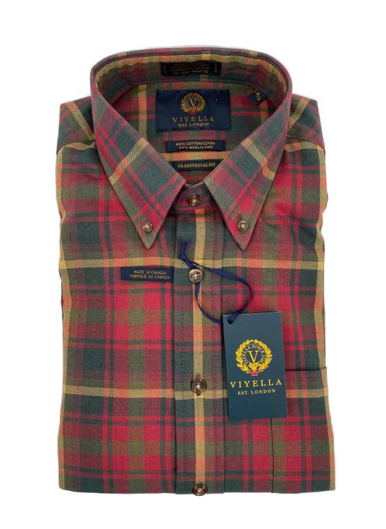 Maple Plaid Button-Down Sport Shirt by Viyella