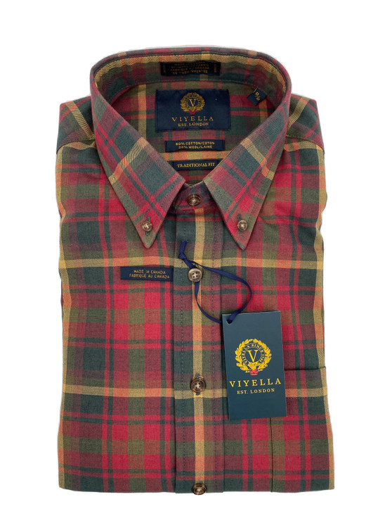 Maple Plaid Button-Down Sport Shirt by Viyella