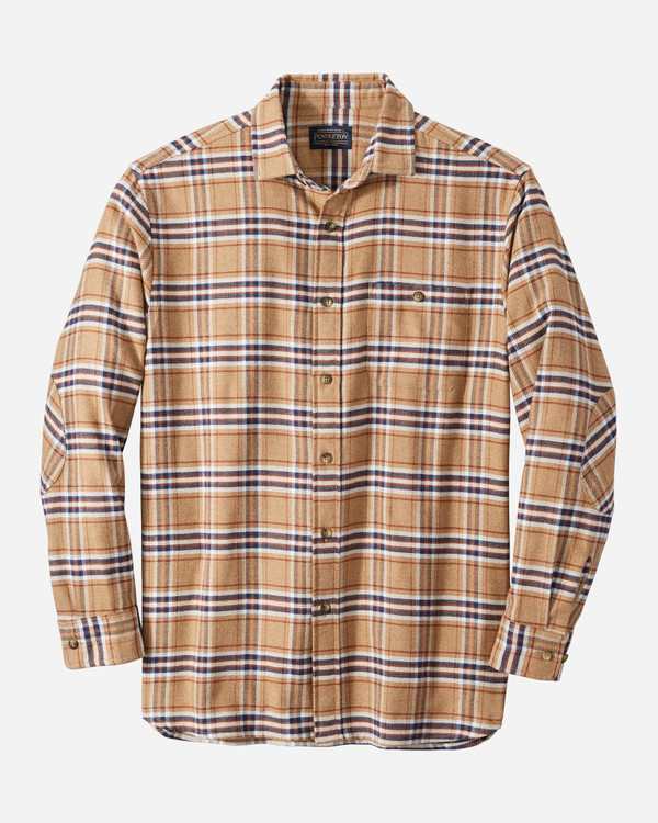 Cascade Flannel Shirt in Camel/Navy/Rust Plaid by Pendleton