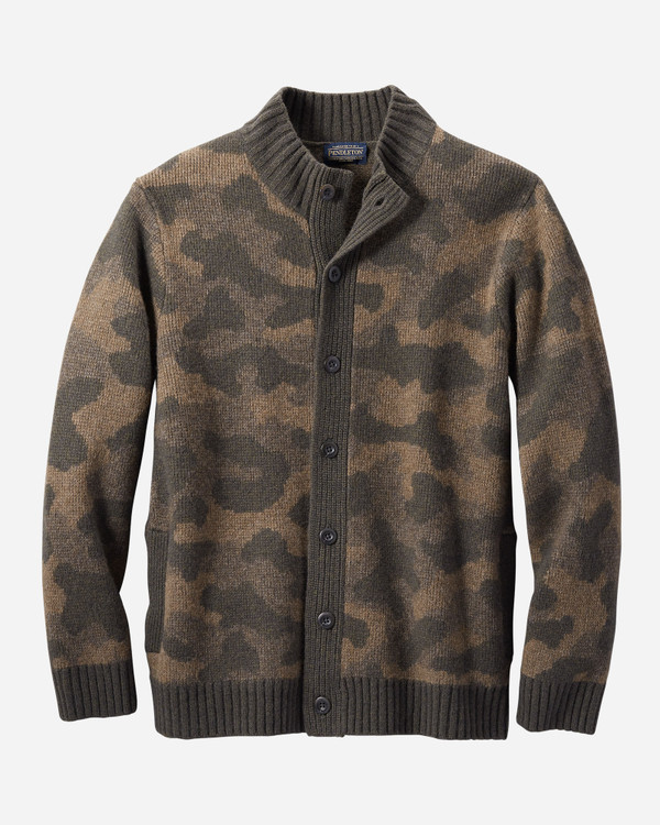 Lambs Wool Camo Cardigan Sweater by Pendleton