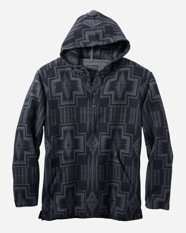 Driftwood Doublesoft Flannel Hoody in Black/ Grey Harding by Pendleton