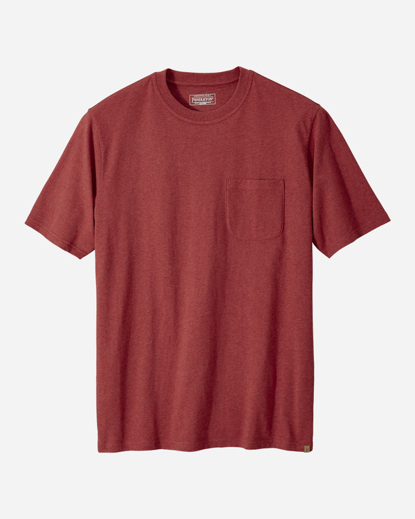 Short-sleeve Deschutes Pocket Tee in Red Heather by Pendleton